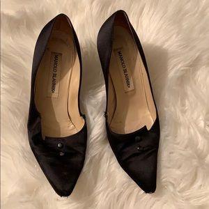Manila Blahnik Black Heels with Buttons